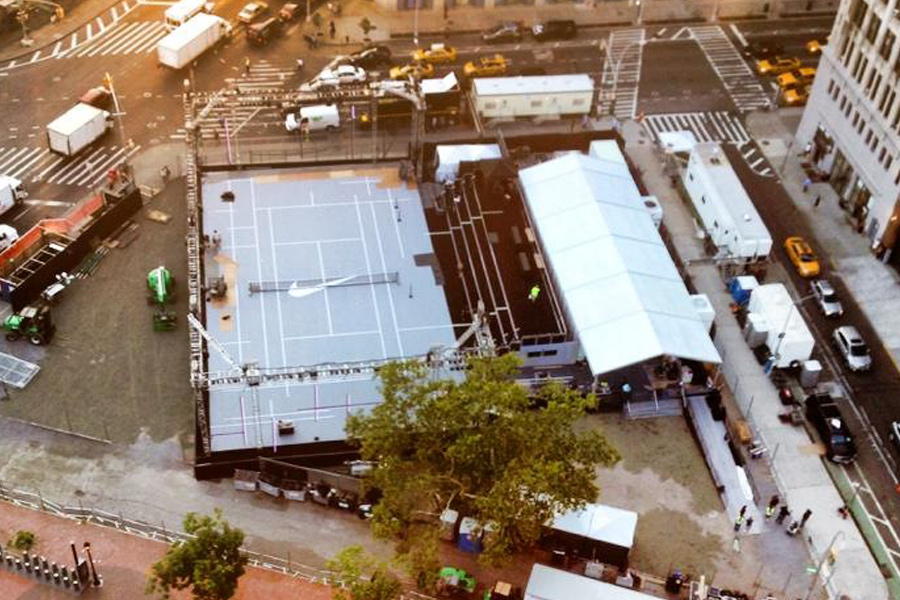 NYC / Aerial View of Custom Truss Enclosure and Bleacher System