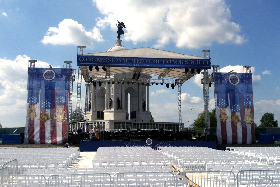 Gettysburg, PA / Truss Tower Staging with Custom Printed Softgoods