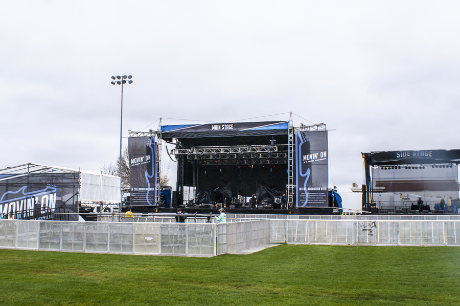 University Park, PA / SAM-550 Main Stage, SL-260 Side Stage, Front of House with Custom Softgoods