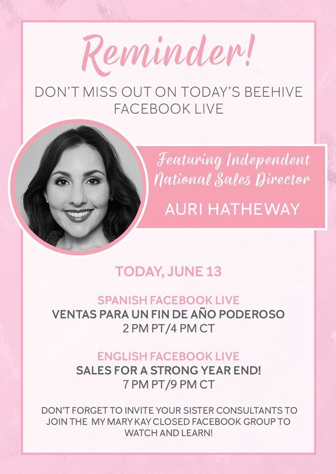0607164db70 ... ⏱ Set your reminders! ⏱ Today's Beehive event will be aired on Facebook  Live, featuring Independent National Sales Director Auri Hatheway at 10pm  ...