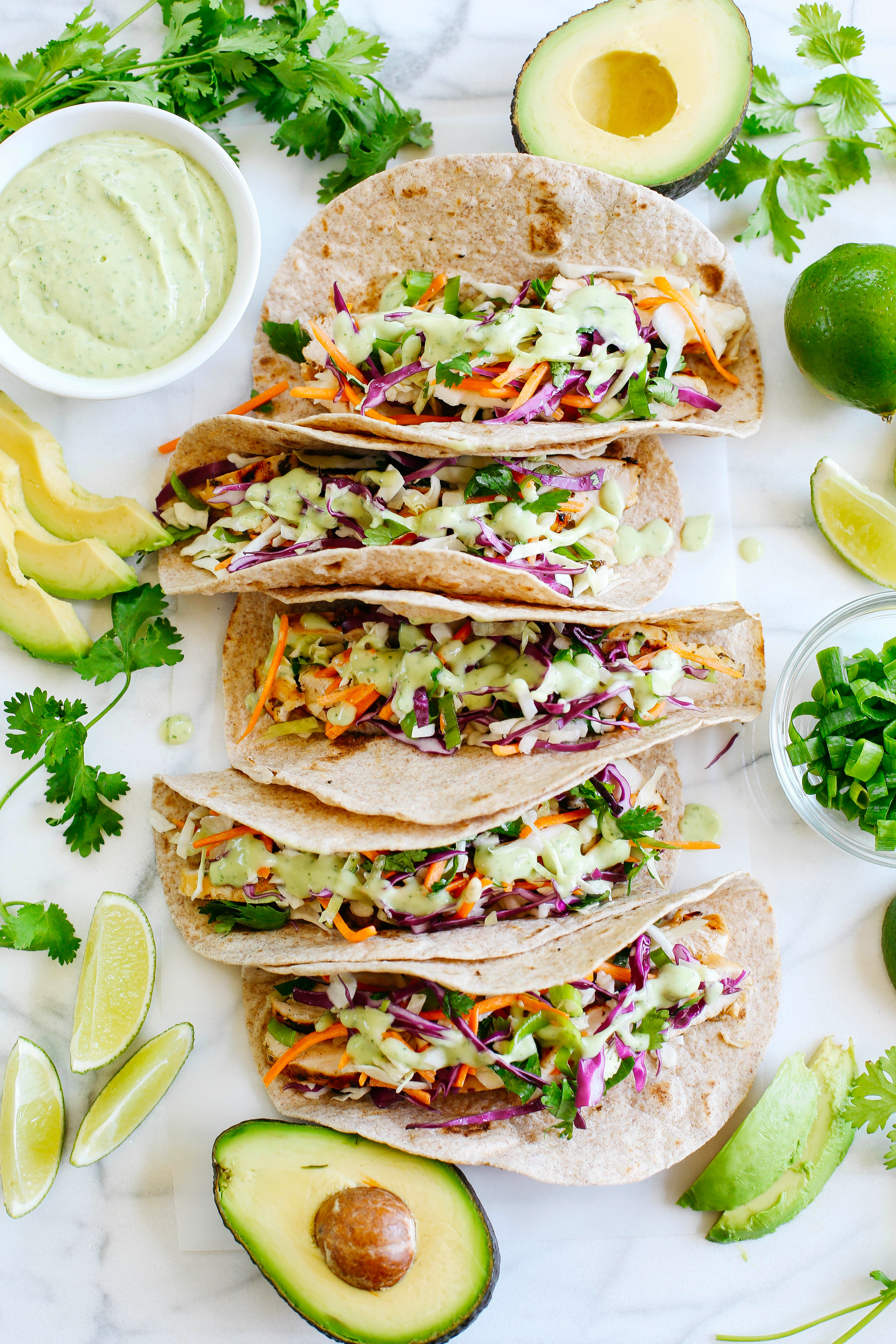 Cilantro Lime Chicken Tacos - Eat Yourself Skinny