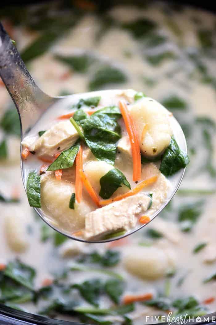 Slow Cooker Olive Garden Chicken Gnocchi Soup • Fivehearthome Slow Cooker Chicken Gnocchi Soup