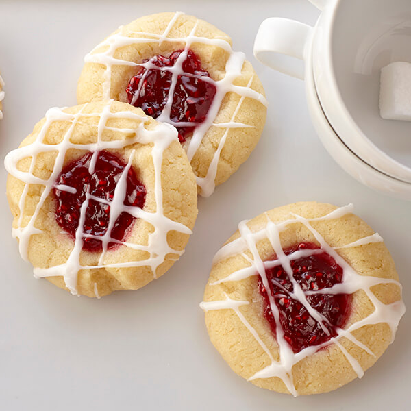 Raspberry Thumbprint Cookies With Almond Glaze