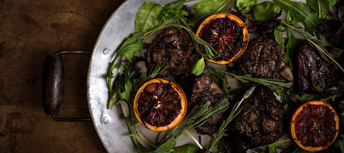 Lavender Lamb Chops With Grilled Blood Oranges