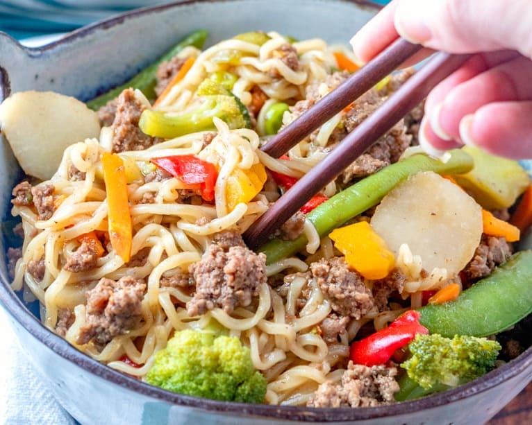 Ground Beef: Ramen Noodle Skillet