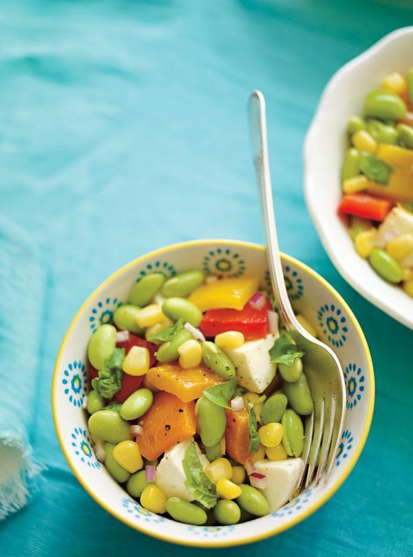 Salade D'edamame Aux Poivrons Grillés Et Aux Bocconcinis | Ricardo