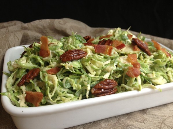 Brussels Sprout Slaw with Maple-Bacon Roasted Pecans Recipe | Food Blogger