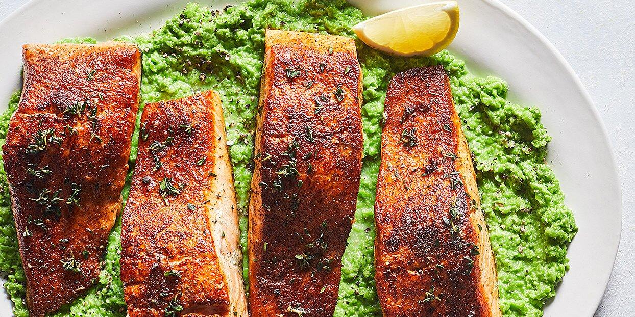 Old Bay Salmon with Lemony Mashed Peas