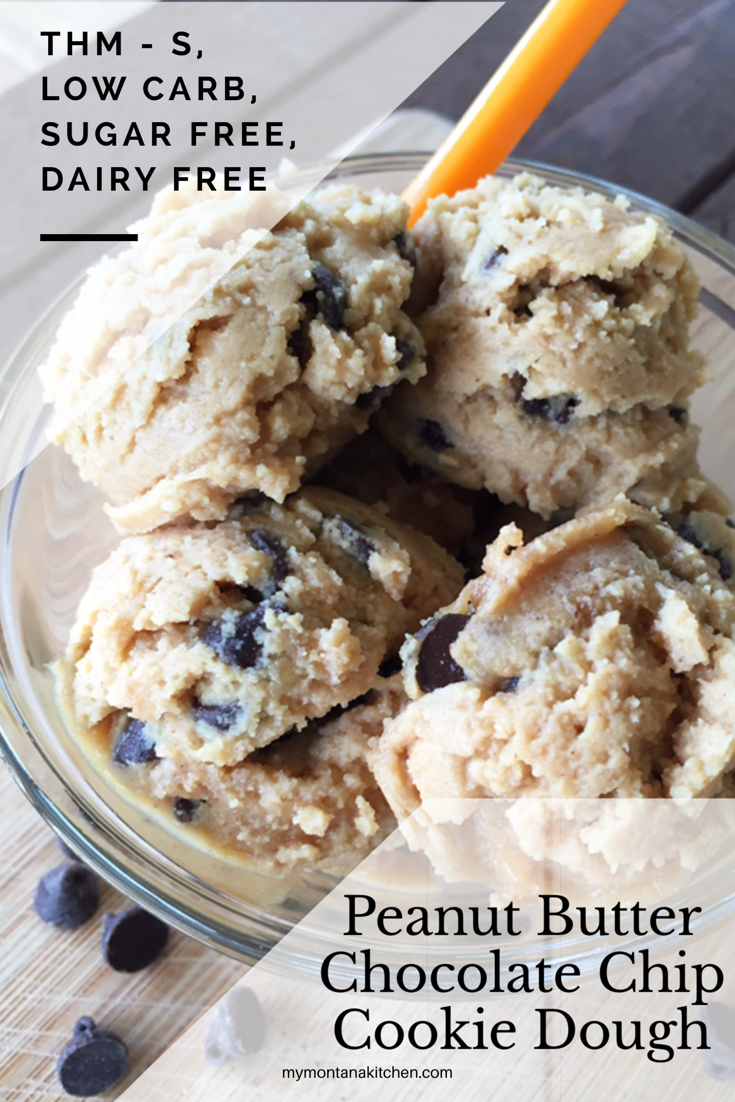 Peanut Butter Chocolate Chip Cookie Dough {Thm-S, Gluten Free, Sugar Free, Dairy Free, Low Carb} THM S| My Montana Kitchen