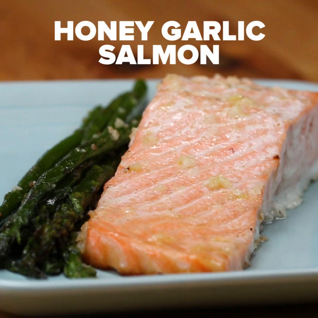 One-Pan Honey Garlic Salmon & Asparagus Recipe By Tasty