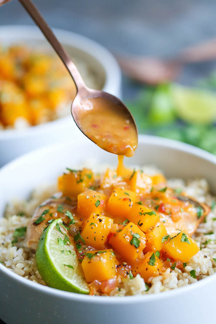 Mango Chicken With Coconut Rice - Damn Delicious