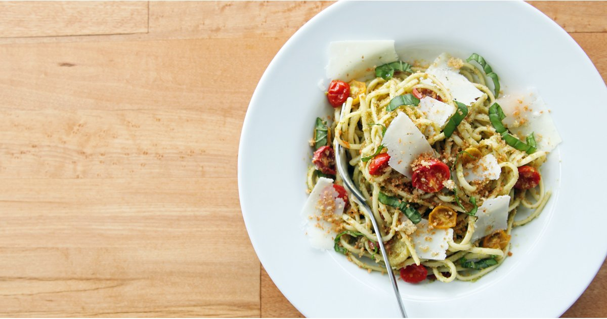 Katie Sweeney Pasta With Pesto and Roasted Tomatoes