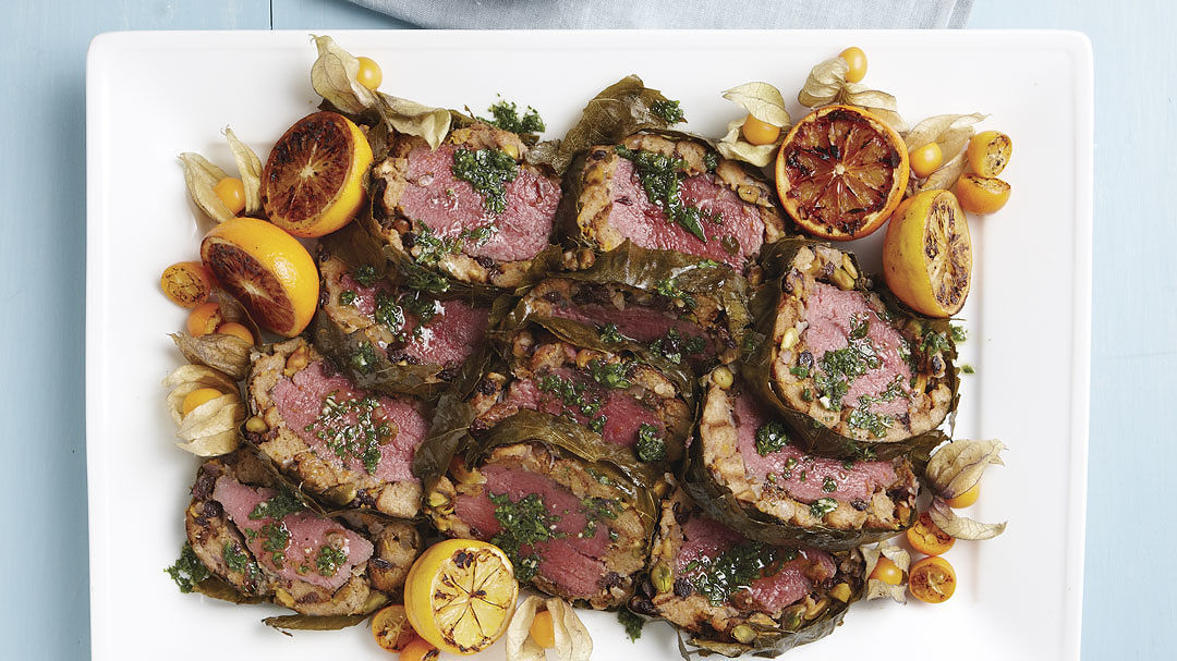 Grape-Leaf Wrapped Lamb Loin With Orange And Pistachio Stuffing