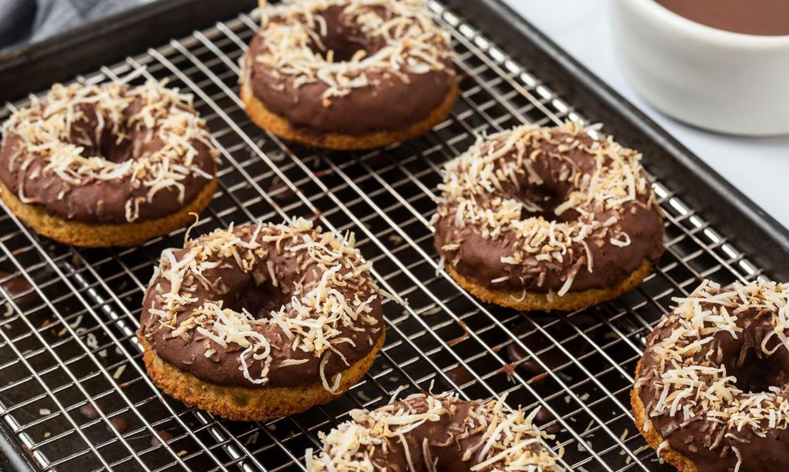 Vanilla Donuts With Chocolate Glaze