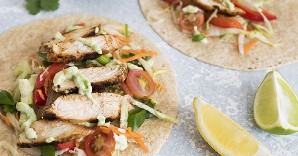 Mexican Chicken Tacos With Chop Salad And Avocado Dressing