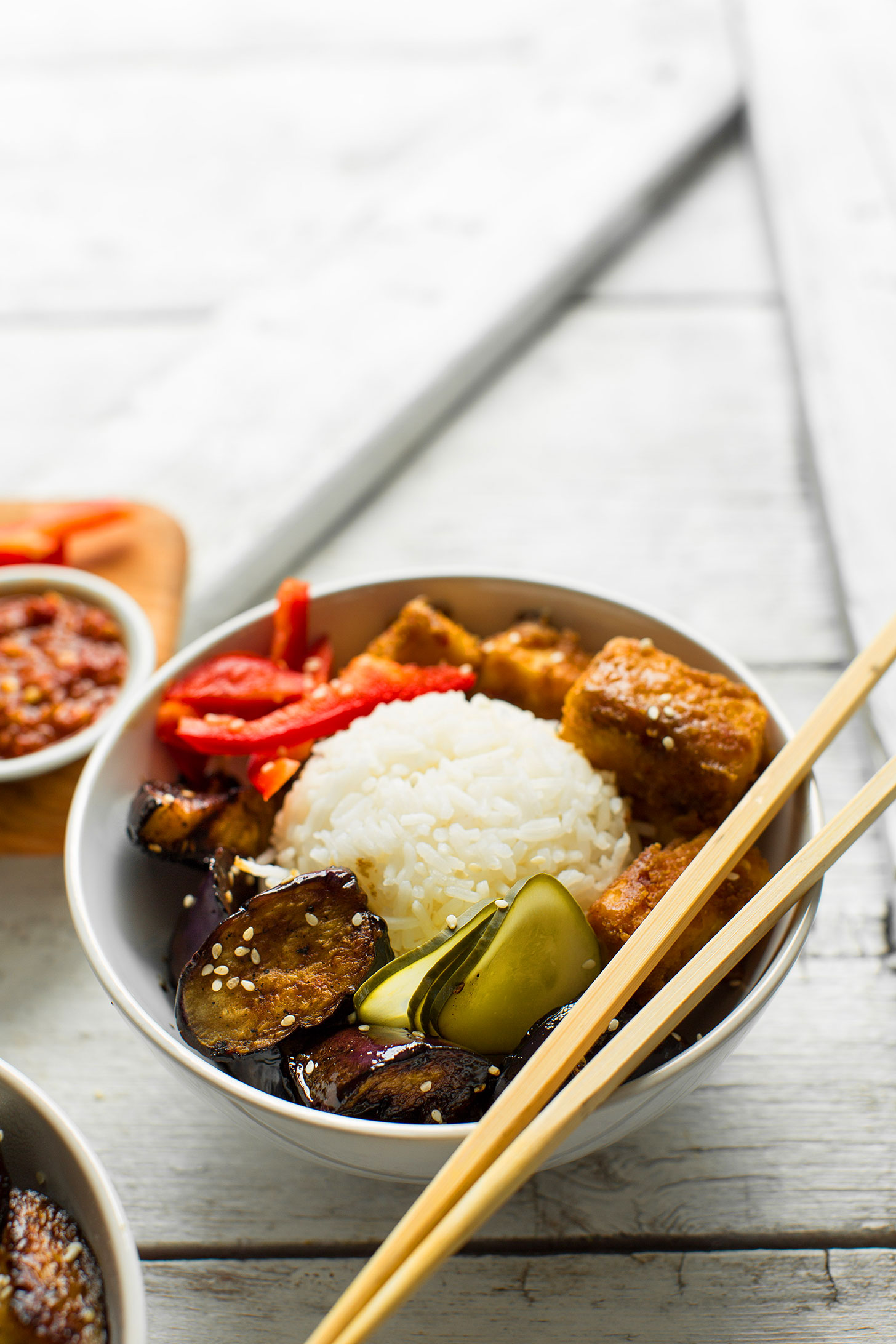 Eggplant & Almond Butter Tofu Bowls