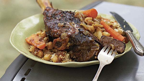 Barbecue-Braised Moroccan Lamb Shanks With Honey-Mint Glaze