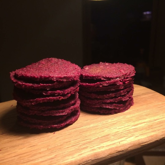 Raw beetroot & rosemary crackers