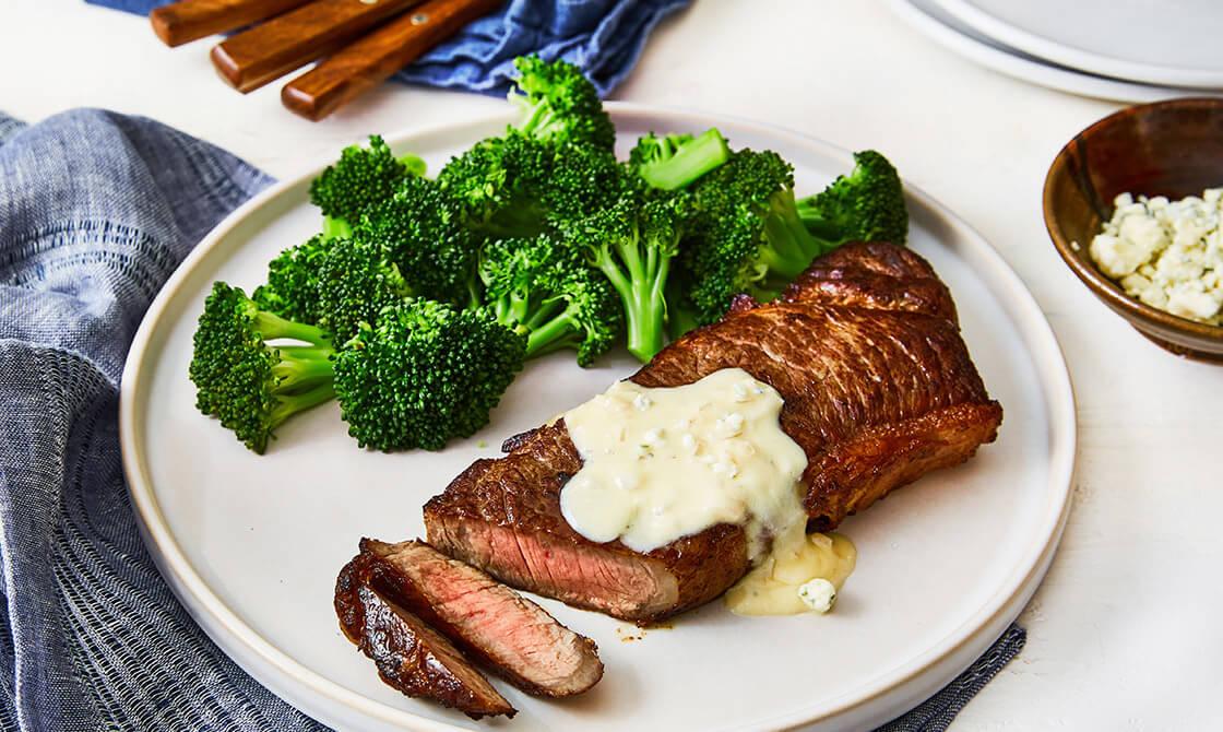 Keto Steak & Broccoli With Blue Cheese