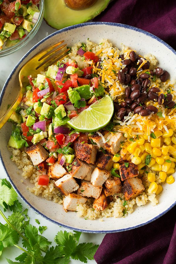 Grilled Chicken And Quinoa Burrito Bowls With Avocado Salsa - Cooking Classy