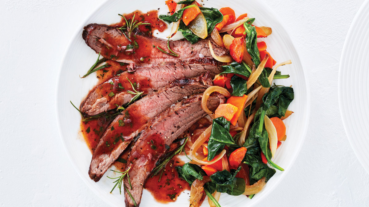 Red Wine Steak With Caramelized Vegetables