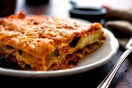 Lasagna With Tomato Sauce And Roasted Eggplant Recipe
