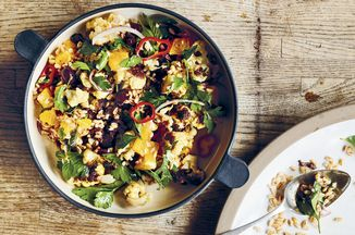 Paul Kahan's Grains With Roasted Cauliflower, Black Olives & Oranges