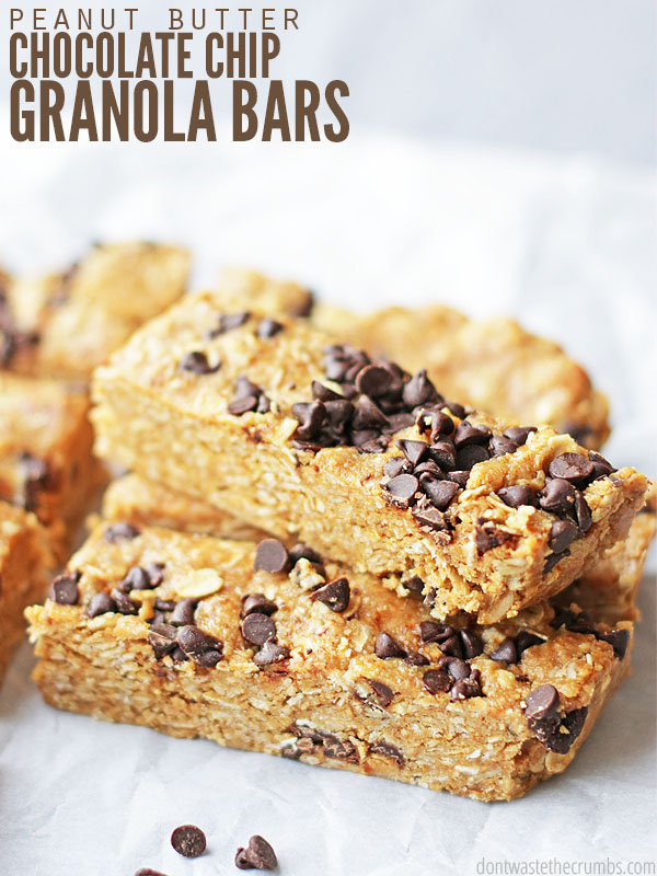 Soft And Chewy Peanut Butter Chocolate Chip Granola Bars