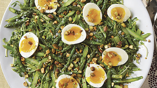 Asparagus And Pea Shoots With Pistachios And Soft-Cooked Eggs - Recipe - Finecooking