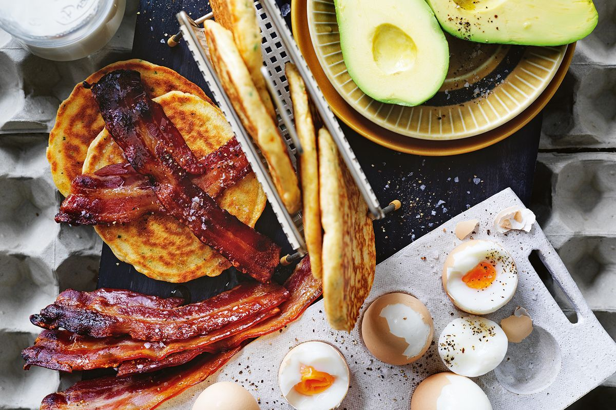 Chive and smoked cheddar pancakes with maple-glazed bacon