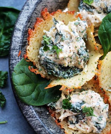 Spinach-Artichoke Dip In Parmesan Cups