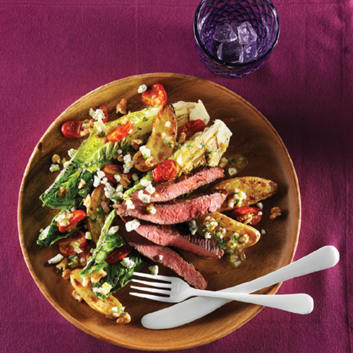 Charred Lettuce & Grilled Flank Steak Salad With Orange Shallot Vinaigrette
