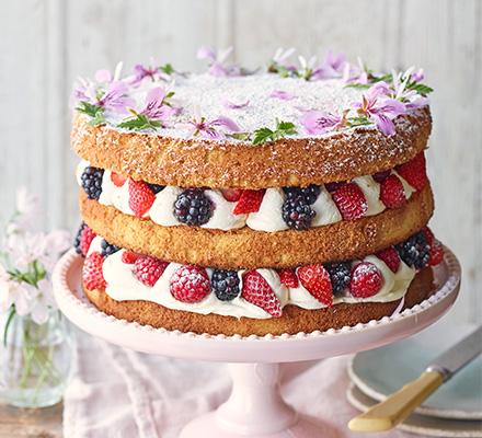 Summer Berry Cake With Rose Geranium Cream