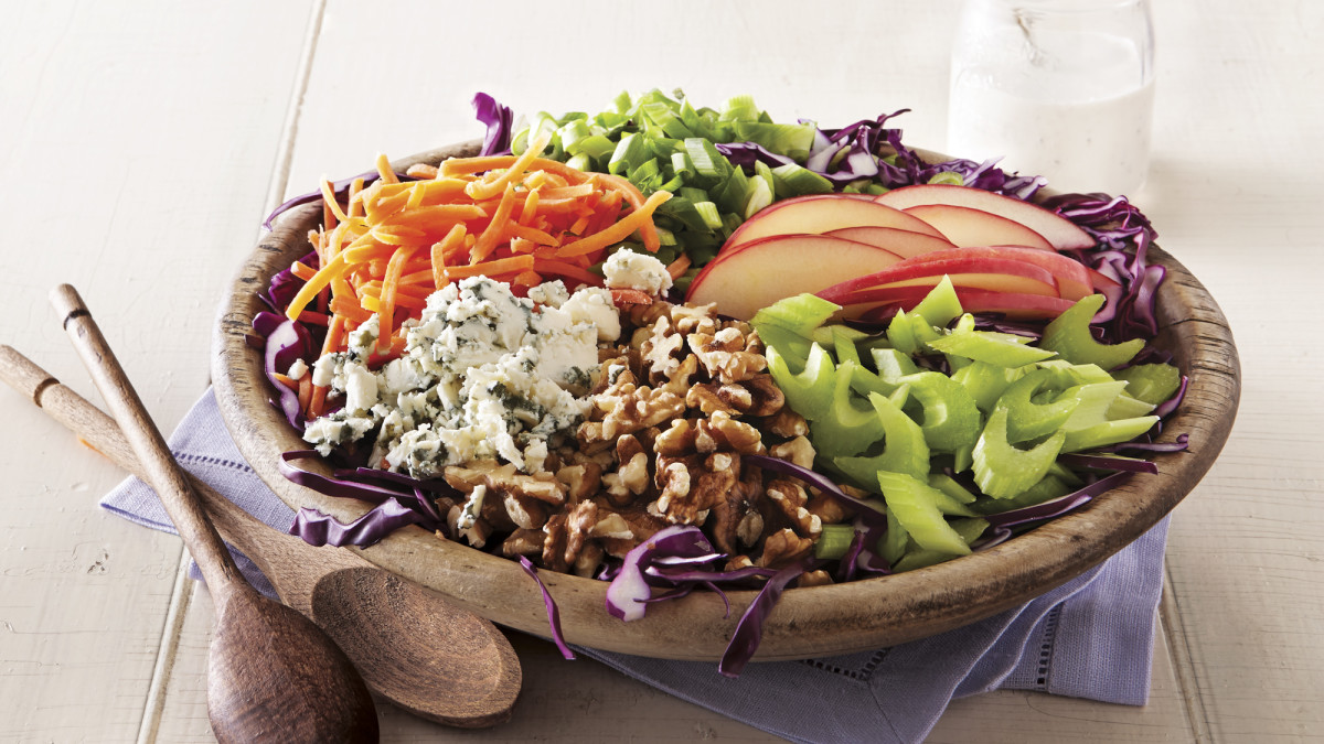 Blue Cheese Apple Slaw With Tangy Garlic Dressing