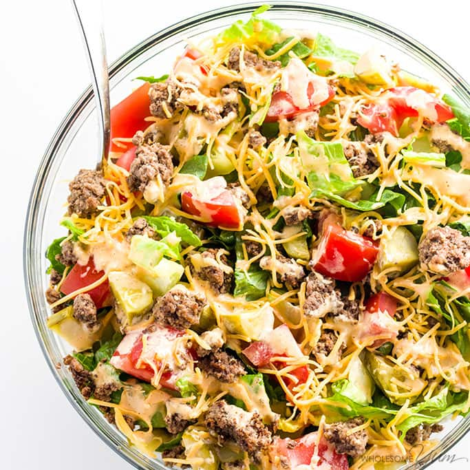 Big Mac Salad Recipe - Cheeseburger Salad (Low Carb, Gluten-free)