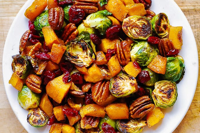 Roasted Brussels Sprouts and Cinnamon Butternut Squash with Pecans and Cranberries