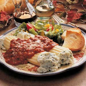 Beef Stuffed Manicotti with Basil Tomato Sauce