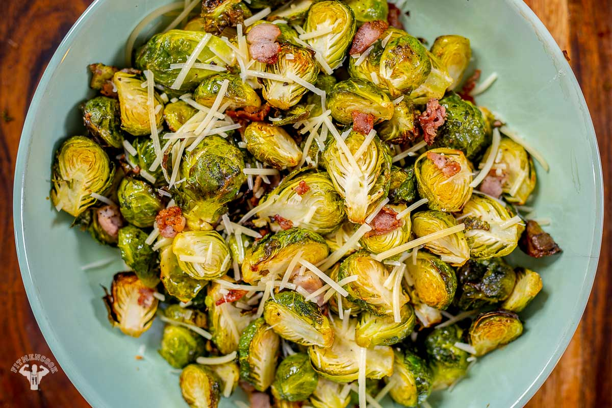 Air-Fried Bacon Brussels Sprouts -