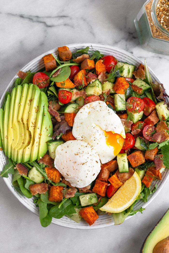 Breakfast Salad With Poached Eggs Breakfast Salad With Poached Eggs (Whole30) - Eat The Gains