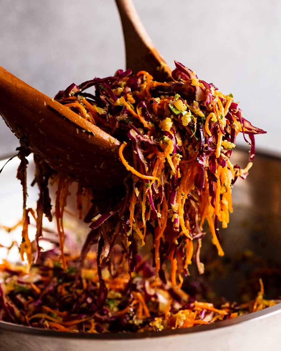 Cabbage & Carrot Thoran-Style Indian Salad