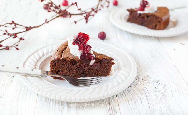 Gluten-Free Cranberry Chocolate Gingerbread Cake