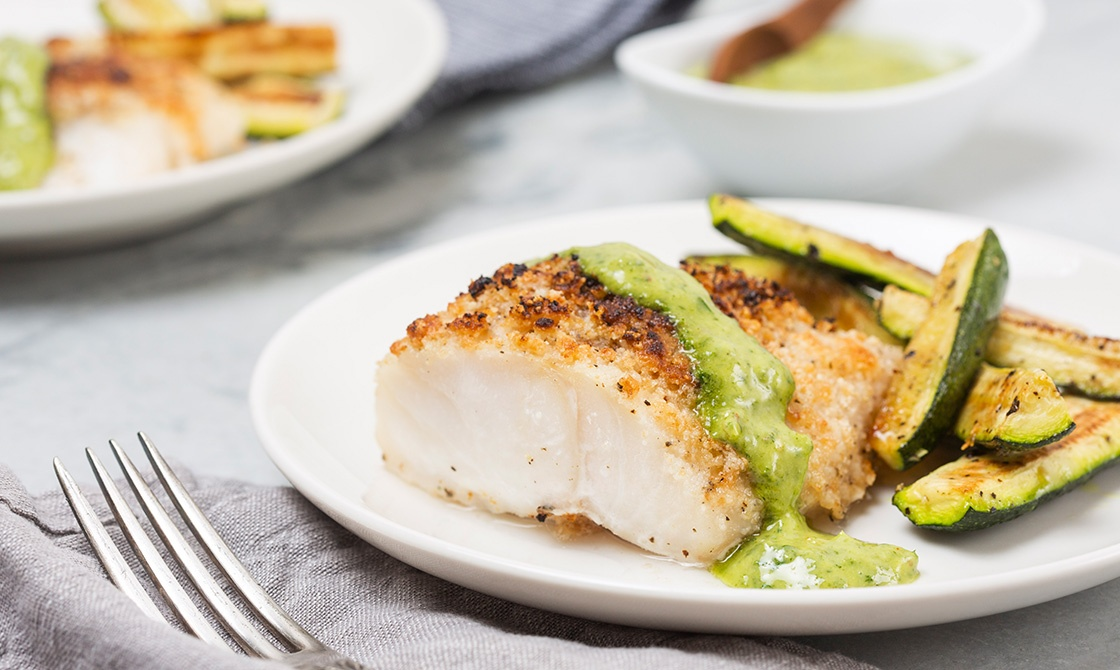 Keto Crispy Fish, Herb Sauce & Zucchini