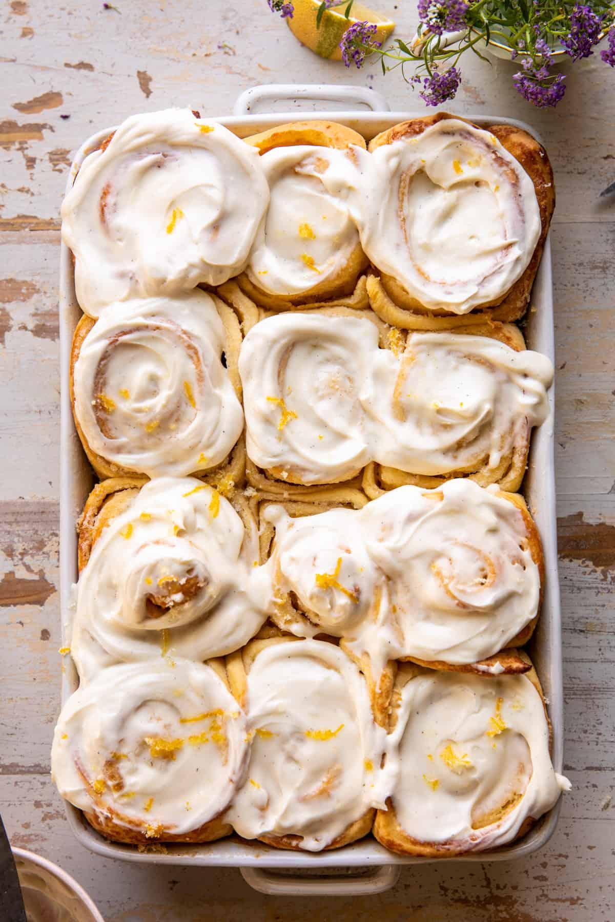 Lemon Sugar Rolls With Vanilla Cream Cheese Icing. - Half Baked Harvest Lemon Sugar Rolls With Vanilla Cream Cheese Icing.