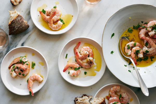 Shrimp Bathed In Olive Oil And Lemon