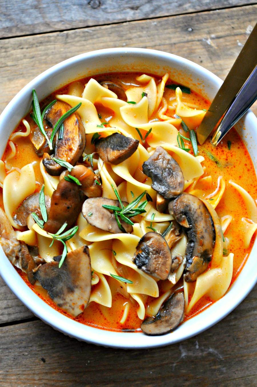 Vegan Wild Mushroom Stroganoff Soup