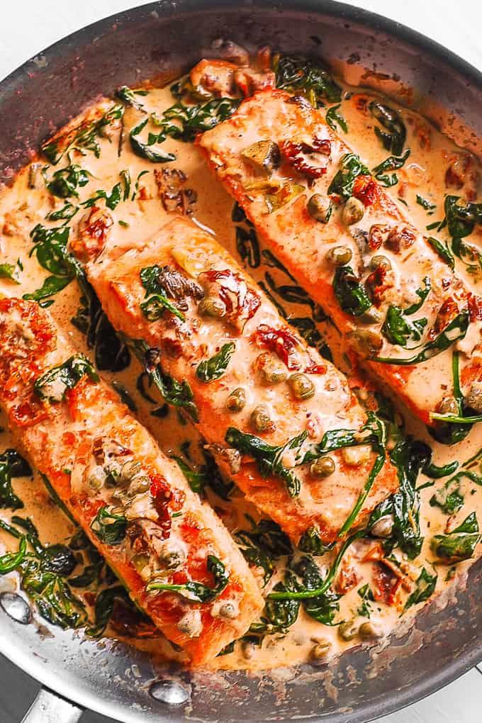Creamy Tuscan Salmon With Spinach, Artichokes, And Garlic - Julia's Album