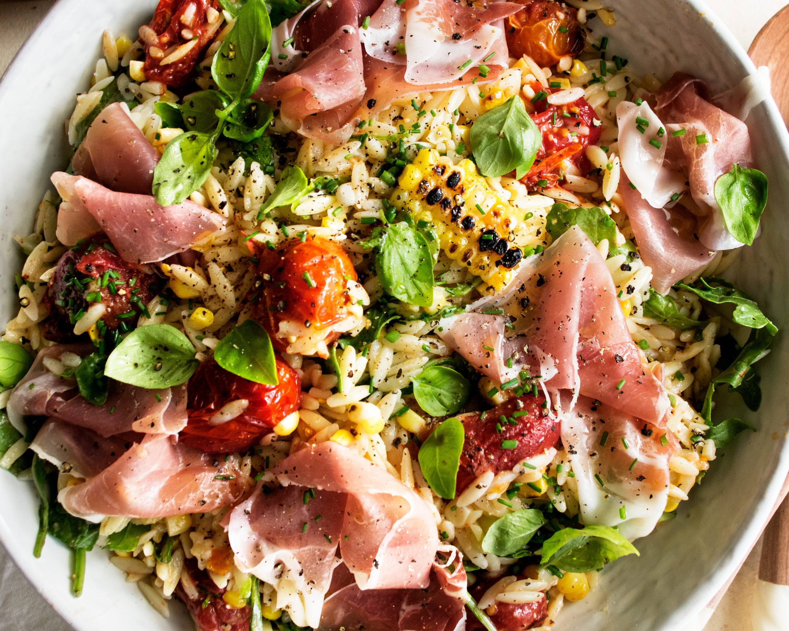 Orzo Salad With Prosciutto & Parmesan Vinaigrette - The Original Dish