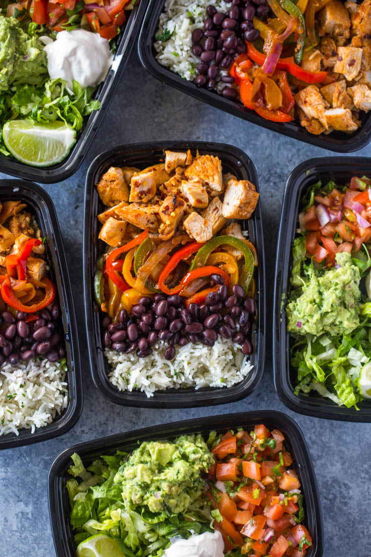 Meal-Prep Chicken Burrito Bowls Chili Lime Chicken and Rice Meal Prep Bowls