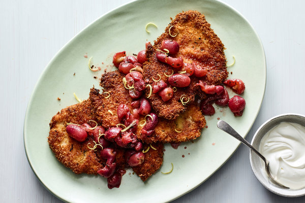 Chicken Schnitzel With Pan-Roasted Grapes