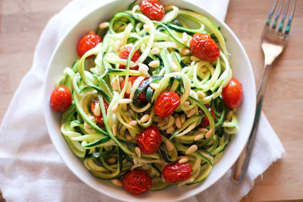 Lemon-Garlic Zucchini Noodles with Roasted Tomatoes
